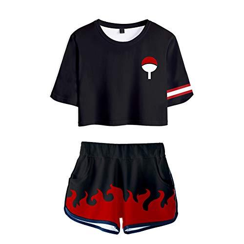 Damen Naruto Cosplay Outfits Akatsuki Crop Top T-Shirt und Shorts Sets - mehrfarbig - Klein