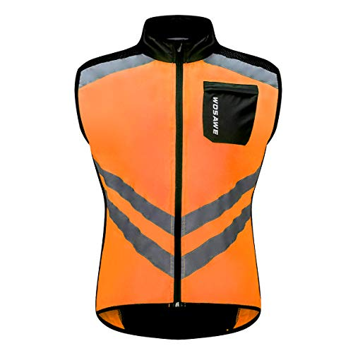WOSAWE Hombres Ropa Ciclismo, Transpirable Chaqueta de Ciclismo Cortavientos Alta Visivilidad Chaleco Reflectante de MTB (BL208 Chaleco Naranja XXL)