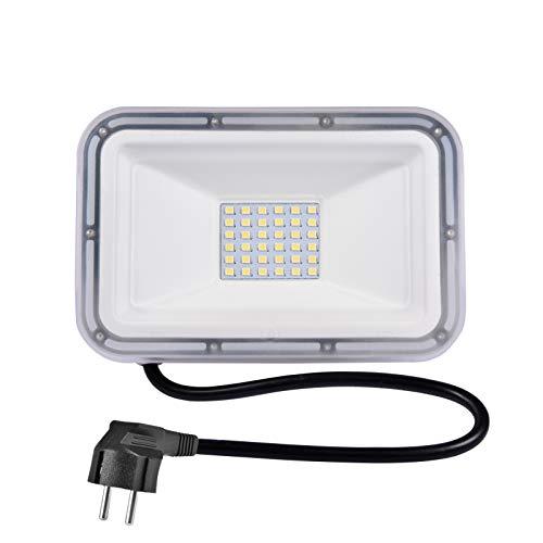 TYCOLIT Foco LED de 30 W con enchufe, 6000 K, para exteriores, muy brillante, IP67, luz blanca fría, para jardín, garaje, campo deportivo, clase energética A+