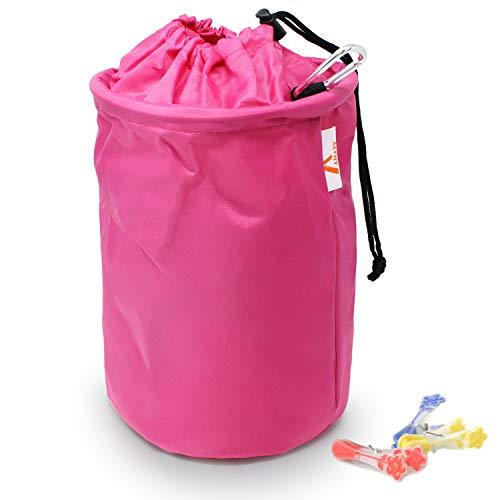 Amazy XXL Wäscheklammerbeutel – Extra-robuster Klammerbeutel mit Karabinerhaken zur Aufbewahrung von bis zu 200 Wäscheklammern für drinnen und draußen (Pink   30 x 20 cm)