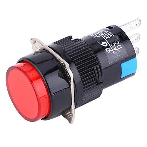 Drukknopschakelaar, 5 stuks 3 pins zelfborgende schakelaar huishoudelijke apparaten accessoires met licht, AC 250 V 3 A, DC 30 V 5 A rood