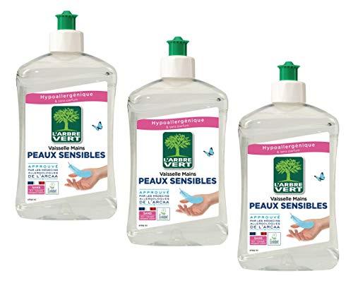 L'Arbre Vert - Líquido para vajilla para pieles sensibles (3 unidades, 500 ml)
