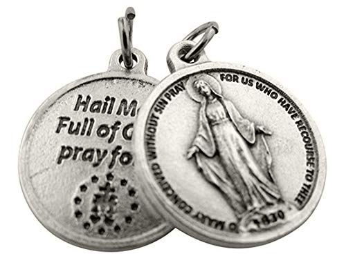 Religious Gifts Silver Toned Base Our Lady of Grace Miraculous Medal with Prayer Protection Pendant, 3/4 Inch