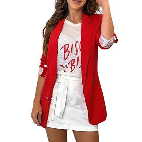 Xmiral Giacca di Jeans Giacche Moto Cardigan Giacca Smoking da Donna Formale Giacca Vestito Smoking Smoking Cardigan Blazer Donna Abito Top Outwear Donna Top Sportivo (L,Rosso)