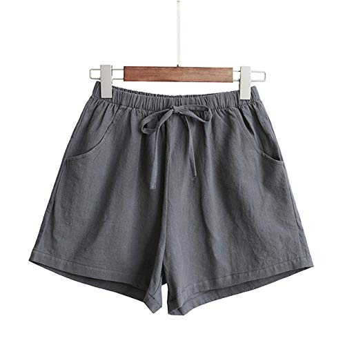 YFDYG Short Femme,Gray Solid Color Shorts Ladies Summer Cotton Linen Shorts Girl Wide Leg Casual Trousers Plus Size Loose Elastic Waist Pockets Pants,S
