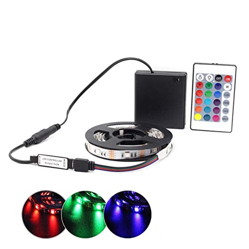 Tira de LED RGB con pilas SMD 5050 luces de cinta impermeable IR RF Control remoto 4AA funciona con pilas Fita LED Stripe,IR 24 teclas RGB Set IP20,1.5M
