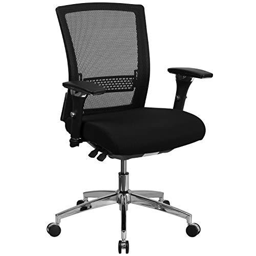 Flash Furniture Black 24/7 Mesh Mid-Back-300LB, Fabric