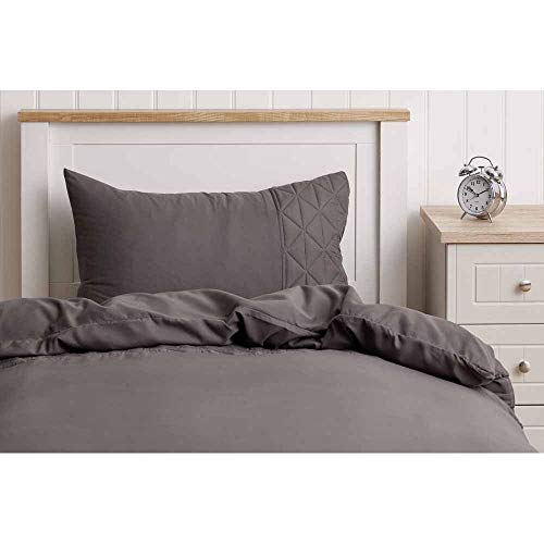 wilko Pinsonic Grey Single Duvet Cover (135 x 200cm), Grey Single Duvet Set with Matching Pillowcase, 100% Microfibre Bedding