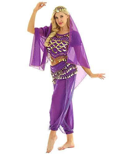 YOOJIA Damen Bauchtanz Kostüm Set Indische Tanz Kleidung mit Münzen 4-teilig, mit Oberteil, Hose, Hüftschal, Schleier Karneval Kostüm Lila One Size