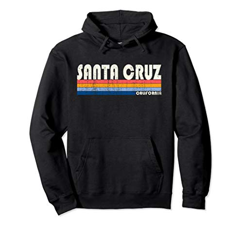 Adults Vintage Santa Cruz California Rainbow Hoodie, 4 Colors, S to 2XL