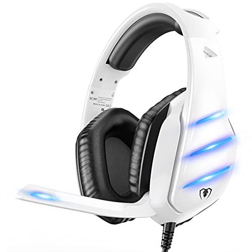 Cascos Gaming PS5, Auriculares PS4 con Graves Envolventes 3D para PS4/PS5/Xbox One/Nintendo/PC/Laptop, Micrófono de Reducción de Ruido con LED, Diadema Ajustable, Almohadillas Suaves de Proteína
