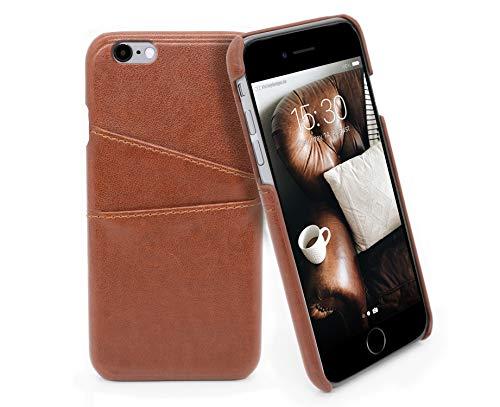 MyGadget Funda Back Case en Cuero PU con Tarjetero para Apple iPhone 6 / 6s - Carcasa Portatarjetas en Piel Sintética con Bolsillo [2 Ranuras] - Cafe