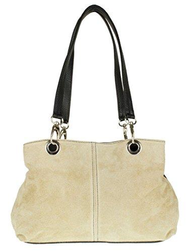 Girly Handbags La bolsa de gamuza italiana hombro (beige)