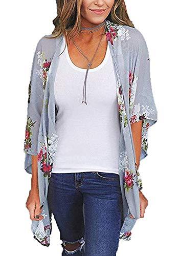 Women's Floral Print Short Sleeve Shawl Chiffon Kimono Cardigan Casual Blouse Tops(Purple Grey M)