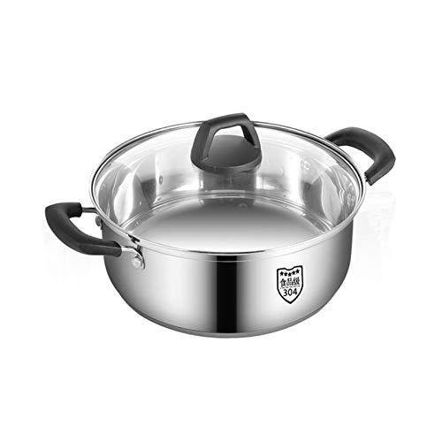 Olla de cocción al vapor, acero inoxidable 304, olla de sopa/olla caliente, hogar/comercial, gran capacidad, apta para cocina de inducción/estufa de gas (1 a 10 personas) sartén (tamaño: 30 cm)