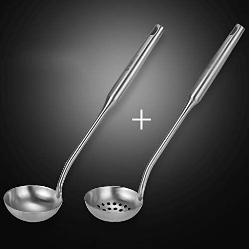 Soup Ladle Steel Ladle Durable 304 18/8 Stainless Steel Ladle And Straining Ladle Sets, with Hollow Handle Heat Resistant Cooking Tool, Thickening Hot Pot Spoon 11.2 Inch Stainless Steel Serving Ladle