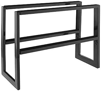 Yamazaki Home Expandable Two-Tier 2 Shelves Adjustable Shoe Rack Large One Size Black