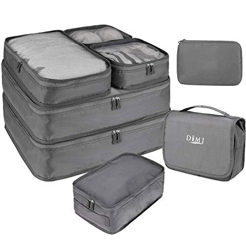 DIMJ トラベルポーチ アレンジケース 8点セット 軽量 大容量 旅行 出張 衣類収納 スーツケース整理 靴入れ 洗面用具入れ PC周辺小物用ポーチ (グレー)