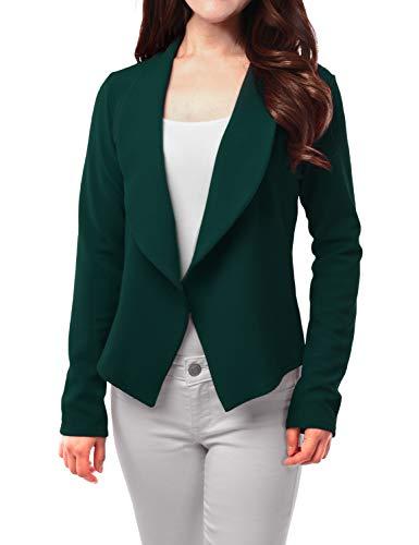 FASHIONOLIC Womens Light Weight Casual Work Office Open Front Blazer Cardigan Jacket Made in USA (CLBC002) DK.Huntergreen M