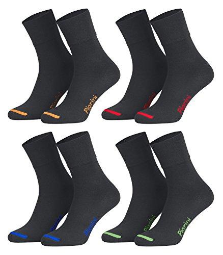 39-42 - 8 Paar Business Socken, Anzugsocken ohne Gummibund Baumwolle - Herren Damen - 8er Pack - anthrazit-farbige Spitze