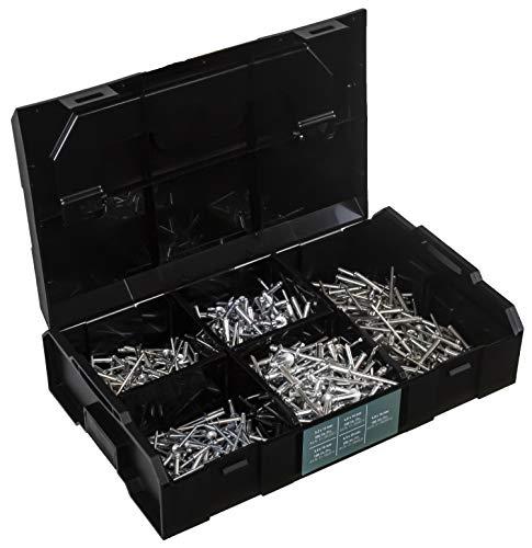 Confezione da 500 rivetti ciechi, in alluminio e acciaio, testa tonda piatta, DIN 7337 forma A - ISO 15977 485bb10