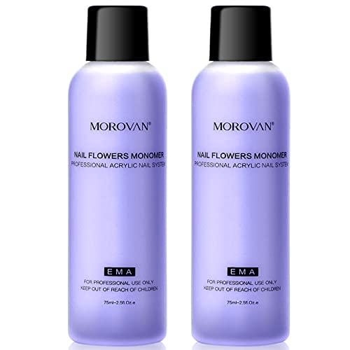 Morovan Monomer Acrylic Nail Liquid - Non-Yellow Nail Monomer Liquid 2PCS 2.5OZ for Acrylic Powder MMA Free Medium Drying Time