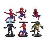 6 pcs / lot modèle d'anime Spiderman Figure Jouets Spider-Man lézard électro Mini modèle poupées Cadeau 6-8 cm