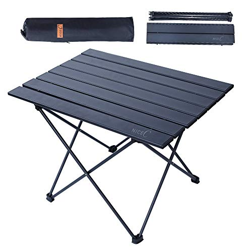Nice C Folding Table, Portable Camping Table, Aluminum Collapsible Table top, Ultralight Compact with Carry Bag for Outdoor, Beach, BBQ, Picnic, Cooking, Festival, Indoor, Office (Small)