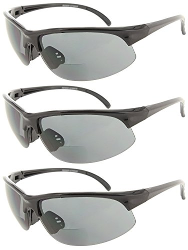Fiore 3 Pack or 1 Pack Bifocal Sports Sunglasses Wrap Around Sun Readers for Men and Women UV Protection