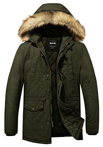 Wantdo Men's Winter Thicken Cotton Parka Jacket Winter Coat Small Army Green