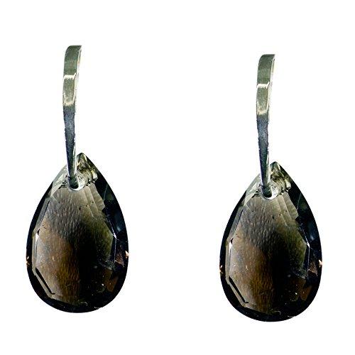 CaratYogi Natural Rauchquarz Ohrring Braun Farbe Astrologischer Hebel Zurück Silber Schmuck Quadrat Antike