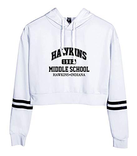 SIMYJOY Sweat Confortable imprimé Hawkins Middle School Mode Vintage 1980s Pull à Capuche Haut Court Hawkins Middle School Mode Sport pour Femme Fille