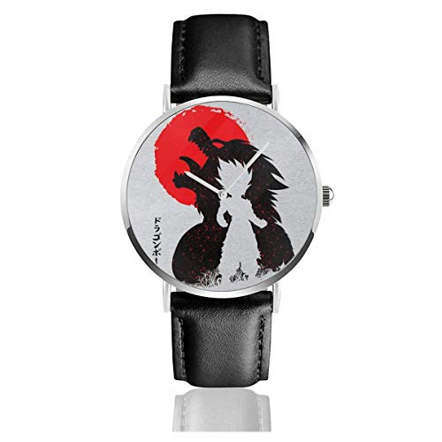 Unisex Business Casual Ball Ozaru Gohan Relojes Reloj de Cuero de Cuarzo