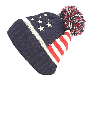 NY GOLDEN FASHION Women Men American Flag Cuffed Knit USA Flag Patriotic Beanie with Pom Pom Winter Hat (Navy)