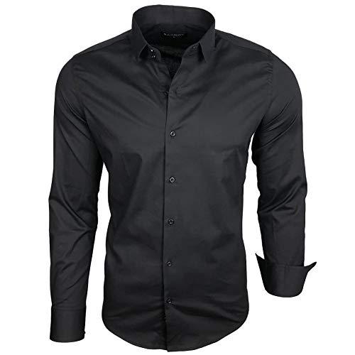 Baxboy Herren-Hemd Langarm/Business Freizeit Hochzeit/Bügelleicht/Slim-Fit/Anzug Kentkragen Hemd B-500, Farbe:Schwarz, Größen:XL