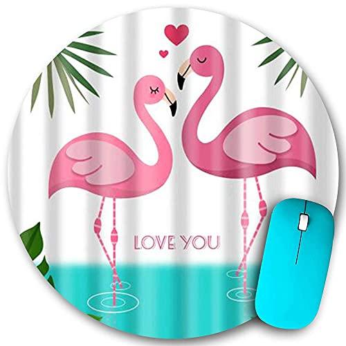 N\A Alfombrilla de ratón Redonda de Goma Antideslizante, Flamingo Pink Reflejo en el Agua Te Amo, Resistente al Agua Alfombrilla de ratón Duradera Escritorio de Oficina Personalidad 7,9 'x 7,9'