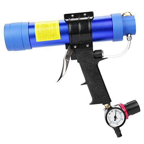Blue Pneumatic Glass Glue Sealant Gun - Pistola selladora con adhesivo de salida de aluminio y plástico, marco giratorio de 310 ml
