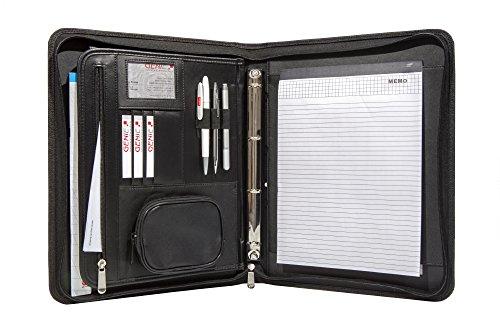Genie –Cartella portablocco A4,con quaderno ad anelli estraibile, modello Frankfurt, cerniera, blocco note incluso, in similpelle e nylon, colore nero