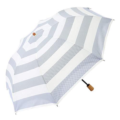 日傘 折りたたみ ショート傘 晴雨兼用傘 完全遮光 遮熱 UVカット 紫外線遮蔽率100% ボーダー柄 大判 トップレス 母の日 母の日 ギフト 母の日 日傘 (ダークネイビー)