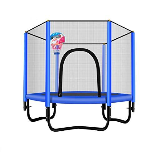 WZLDP Trampolines, Cama Infantil Infantil Interior for niños, con Cama elástica Redonda, Red de Seguridad, Cubierta de Seguridad, Exterior, Rosa, Azul. Cama para Saltar (Color : Blue)
