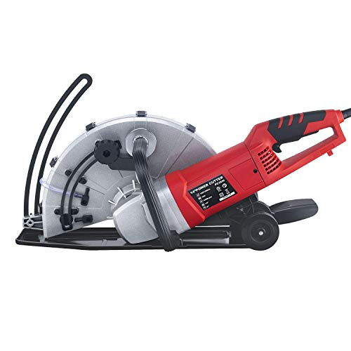 Steel Force KPC 3551 Portable 14' Wet/Dry Electric Corded Circular Concrete Saw/Power Angle Cutter 2600W w/Water Line & Guide Roller