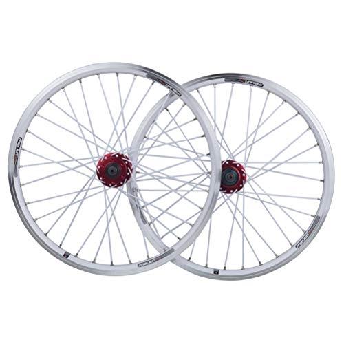 20 Zoll BMX Fahrradfelge Fahrrad Laufradsatz 406 Felge Faltbare 9mm QR Axie Scheiben Scheibenbremse V-Bremse for 7-10 Geschwindigkeit 32H (Color : White)