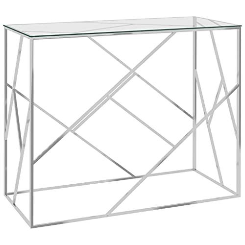 vidaXL Beistelltisch Konsolentisch Sofatisch Wohnzimmertisch Flurtisch Glastisch Couchtisch Telefontisch Silbern 90x40x75cm Edelstahl Glas