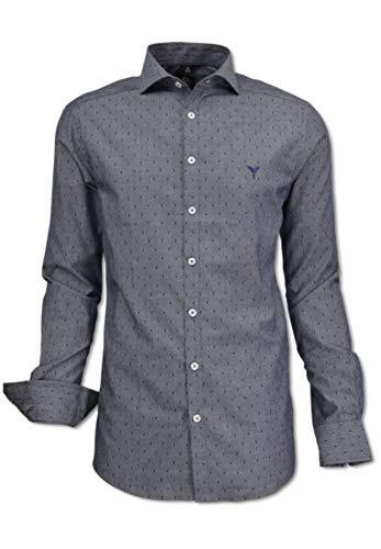 Carlo Colucci Herren Hemd mit modernem Kent-Kragen, Blau gepunktet Blau XXL