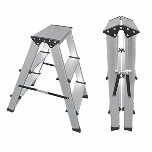 CAIJUN Tabouret D'échelle Ménage Alliage D'aluminium Aluminium Épais Multifonction Pliable Antidérapant, 2, 3 Escabeaux Double usage (taille : B)