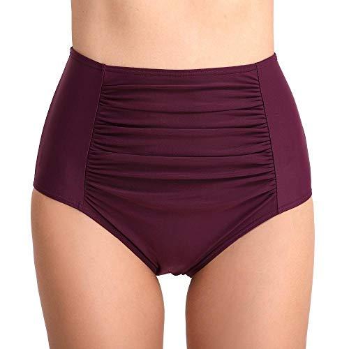 Traje De Bañopantalones Cortos De Bikini Bañador De Mujer Bañador Retro De Cintura Alta De Dos Piezas Triángulo Dividido Bañador Plisado-Un_XXL