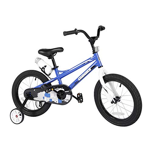 Purchase Kids Sporty Bike with Training Wheels and Water Bottle 14-16 Inch for Children Age 3-8 (Blu...