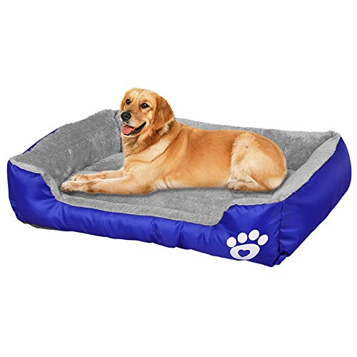 BCOO Dog bed Cat bed Pet bed Super soft pet sofa bed, soft wool fleece PP cotton made into a pet bed, suitable for small medium dogs or cats (L:63 * 53 * 15CM(24.8 * 20.9 * 5.9Inch), Sapphire color)