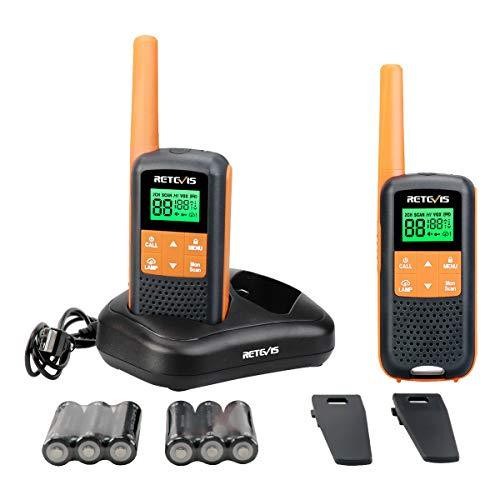 Retevis RT49 Walkie Talkie Rechargeable Long Range,Waterproof Two Way Radio Adult,NOAA Weather Alert AA VOX Flashlight,for Outdoor Hike Hunting Travel(2 Pack)