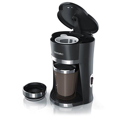 Arendo - OneCup Macchina del caffè rapida, 1 tazza/thermos da 300ml | potenza assorbita: 420W | filtro in nailon permanente (removibile) per un caffè armonico | thermos a doppia parete/molto robusto con 'coperchio di chiusura salva-aroma' / chiusura intelligente
